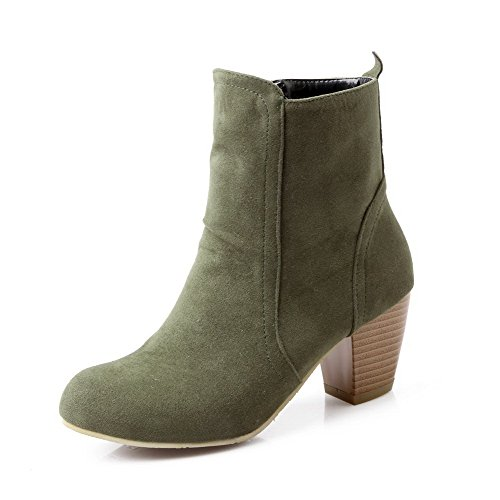 AmoonyFashion Women's Round Closed Toe Low-Top Kitten-Heels Solid Imitated Suede Boots, Green, 5.5 B(M) - Stores Green Hill Mall