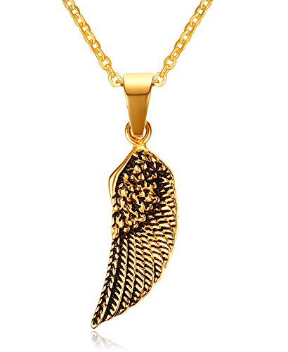 Stainless Steel Gold Plated Eagle Feather Wing Pendant Necklace for Men- with 19