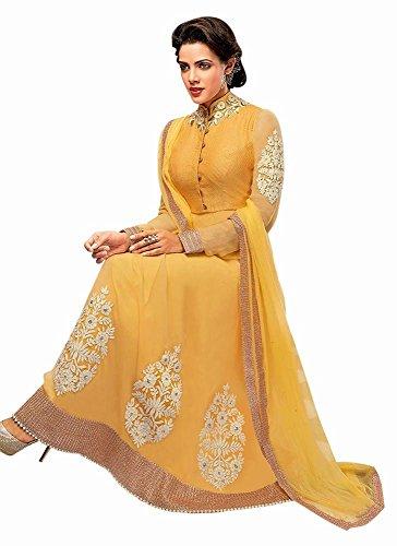 INMONARCH Womens Beautiful Yellow Georgette Kameez SLRD311 unstitched