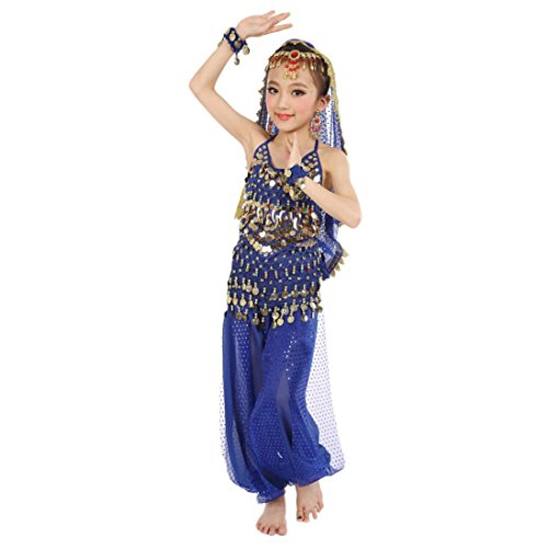 Voberry® Kids Belly Dance Costumes Dangling Gold Coins Hip Scarf Indian Dancing Performance Suit (XL, (Indian Dance Costumes And Accessories)