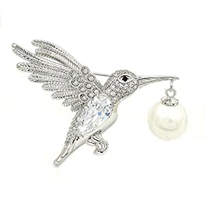DREAMLANDSALES Vintage Imitated Pearl Dangle Flying Profile Bird Brooch Pin Silver Tone
