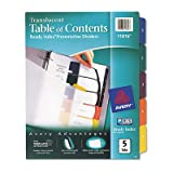Avery Consumer Products Products - Table of Contents Dividers, 5-Tab, 1-5, Tran/Multi - Sold as 1 ST - Customize your documents with the durable translucent Table of Contents dividers. Dividers have a modern design for professional-looking documents. Use