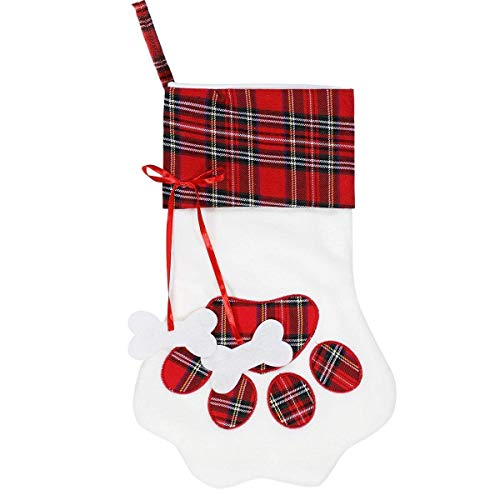 - MODCON Christmas Paw Stocking for Pet Dog Large Sherpa Hanging Christmas Stocking for Christmas Decorations, 18 x 11 Inches(01 Red Paw)