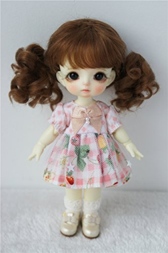 Wigs Only! JD294 5-6inch 13-15CM Pigtail Baby Curly Mohair Doll Wigs 1/8 Lati Yellow BJD Accessories (Light Brown)