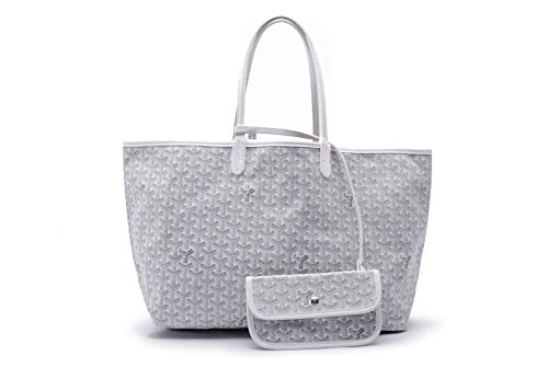 (Tolera Women PU Shopping Tote Bag with Coin Pouch (White, Large (GM)))