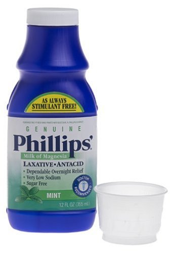 Phillips Milk of Magnesia Laxative Antacid, Mint, 12 Ounces by Phillips