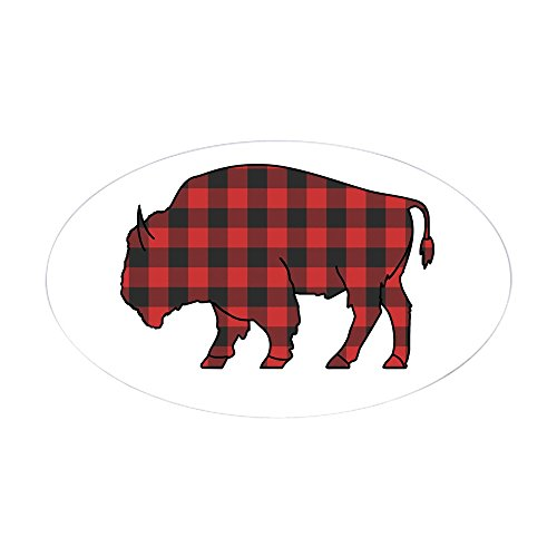 CafePress Buffalo Plaid Sticker (Oval) Oval Bumper Sticker, Euro Oval Car Decal