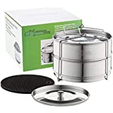 Stackable Pot Steamer Insert Pans – With Sling Fits to 6 & 8 Quart Instapot Pressure Cooker. Premium Stainless Steel Food Steamer for Pressure Cookers, Two INTERCHANGEABLE LIDS and Pot in Pot Accessor