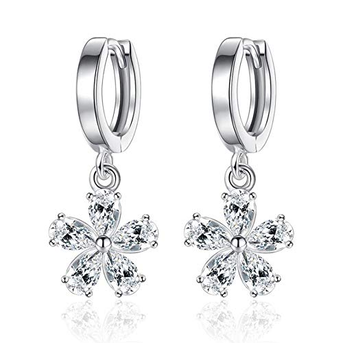 CZ Flower Dangle Tiny Hoop Earrings for Women Girls Cartilage Sleeper Sterling Silver Small Diamond Crystal Daisy Sydney Flowers Drop Cuff Hypoallergenic Delicate Gifts Wedding Mother's Day ()