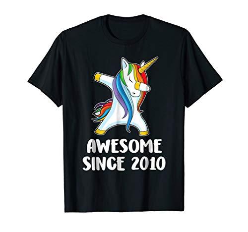 Dabbing Unicorn tee Awesome Since 2010 8th Birthday TShirt ()