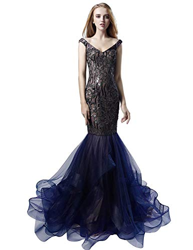 Sarahbridal Women's Mermaid Ruffles Tulle Prom Evening Dress Long Sequin V Neck Ball Gowns Navy Blue US4