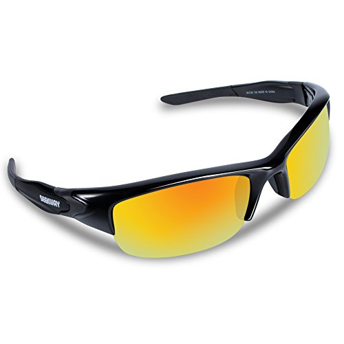 SEEKWAY Polarized Outdoor Half-frame Sports Sunglasses For Cycling Driving Fishing Golf Baseball SWC089 (black&black, rainbow polarized coating - Prescription Cheap Sport Sunglasses