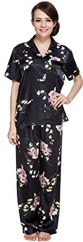 Classic Womens Pajama Set (Shining Life Women's Short Sleeve Classic Satin Pajama Set (XL, BLACK))