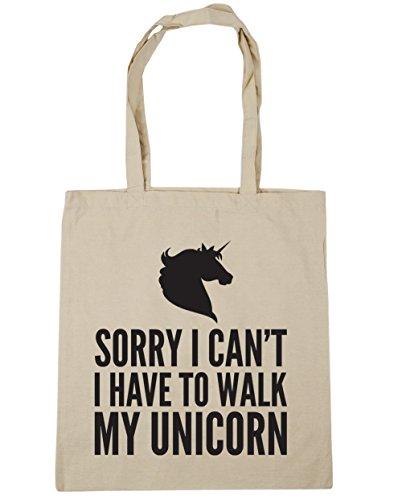 Hippowarehouse Scusa Non Posso Camminare Con Il Mio Unicorno Borsa Da Palestra Borsa Da Palestra 42cm X38cm, 10 Litri - Cotone, Naturale, 100% Cotone 100% Cotone, Donna, Taglia Unica