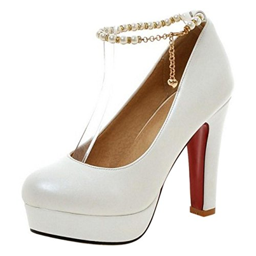 TAOFFEN Women's Ankle Strap High Heel Party Court Shoes White-64 sEVf2