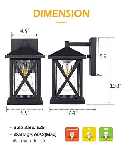 JAZAVA Outdoor Wall-Mount Light Fixtures 2-Pack Industrial Exterior House Porch Lights Wall Sconce Lantern, 10.3 inches…