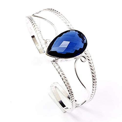 (Nimbark Iolite Quartz Gemstone Silver Plated Cuff Bangle Bracelet Adjustable)