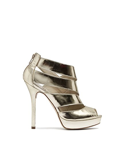 Cut Pamela Toe Ankle Leather Shoes from Gold high PoiLei Boot Smooth Women's Metallic and Heel Stiletto Open Made Party Out OBqnF