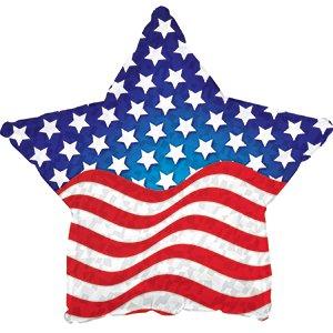 Patriotic Star Shaped Flag Balloon (18 Inch Mylar) Pkg/10