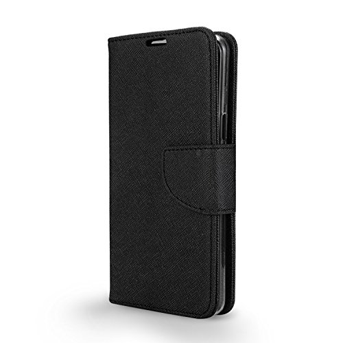 Blu Studio XL 2 Case New Frontier Wireless Accessory Wallet with PU Leather + TPU Inner Fold Stand Pouch with ID Credit Card Photo Cash Slots (Wallet Black)