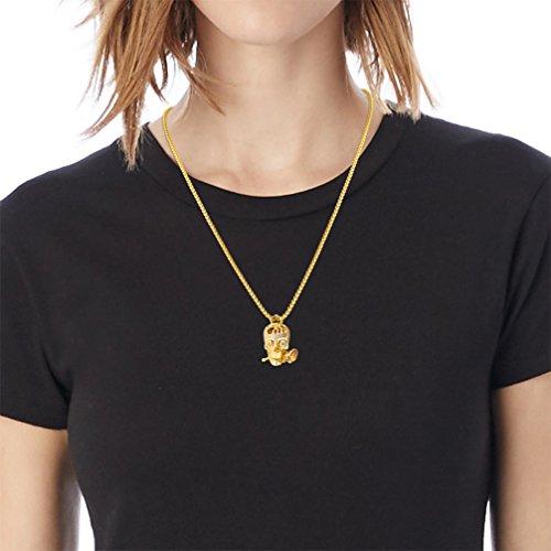 Karseer Faithful Love & Rose Skull Pendant Necklace with Crystal Brain Hidden Inside, Infinite Fantasy Gift for Men and Women (Gold) by Karseer (Image #2)