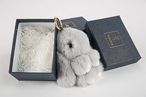YISEVEN Stuffed Bunny Keychain Toy - Soft and Fuzzy Large Stitch Plush Rabbit Fur Key Chain - Cute Fluffy Bunnies Floppy Furry Animal Doll Gift for Girl Women Purse Bag Car Charm - Light Gray by YISEVEN (Image #4)