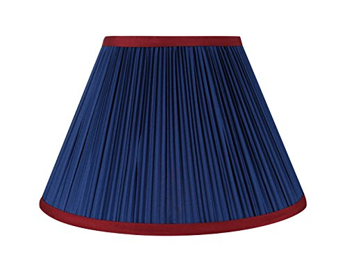Urbanest Mushroom Pleated Softback Lamp Shade, Faux Silk, 7-inch by 14-inch by 9-inch, Navy Blue with Burgundy Trim, Spider-fitter - Blue Pleated Floor Lamp