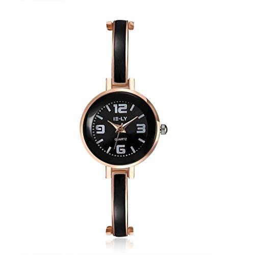 Focus Jewel Round Shape Quartz Watch with Bangle Enamel Bezel Link Chain Bracelet Snap-on Clasp 6 Colors
