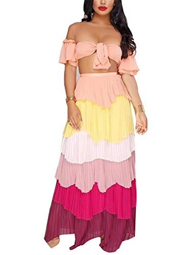 Women's Girls Two Pieces Outfits Printing Wrapped Crop Tank Top Shirts + Swing Cake Skirt Set Chiffon Party Club Maxi Layered Dress Pink L