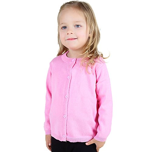 Wennikids Baby Girls' Little Knit Cardigan Button Sweater for 12M-6T Large Pink ()