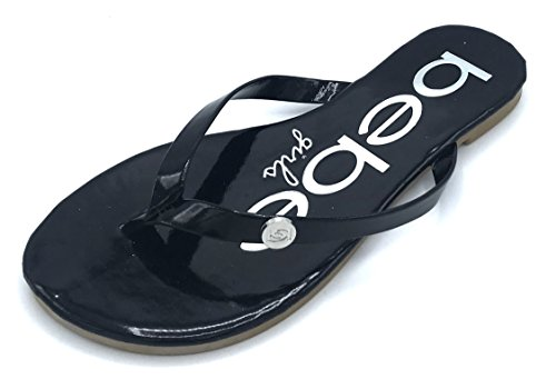 bebe Girls Patent PU Flip Flop with Embellishment, Black, 3