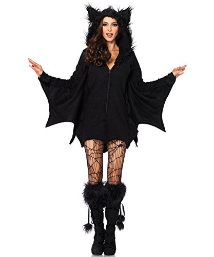 Devil Sexy Costumes Adult Jumpsuit (Halloween Bat Devil Costume for Women Hooded Bodysuit Jumpsuit Cosplay Party Outfit Dress)