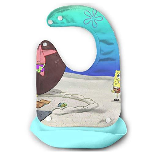 JINUNNU Baby Bib Spongebob and Patrick Waterproof Feeding Bibs for Babies and Toddlers with Food Catcher Pocket Sky Blue ()