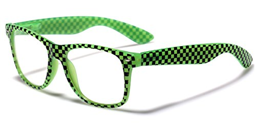 Retro Fashion Sunglasses Clear Lens RX Zebra & Checkered Frame - Glasses Checkered
