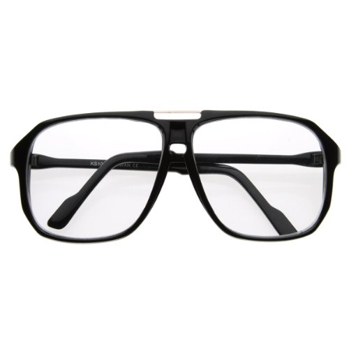 zeroUV - Square Shaped Plastic Aviator Clear Lens Glasses Eyewear with Metal Top Bridge - Style Glasses 80s