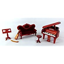 Dolls House 1:24 Scale Miniature Music Room Furniture Set - Piano Sofa Violin by Aztec Imports, Inc.