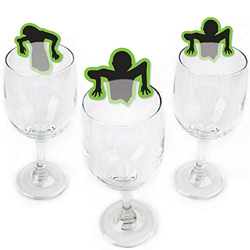 Zombie Zone - Shaped Halloween or Birthday Zombie Crawl Party Wine Glass Markers - Set of 24 -