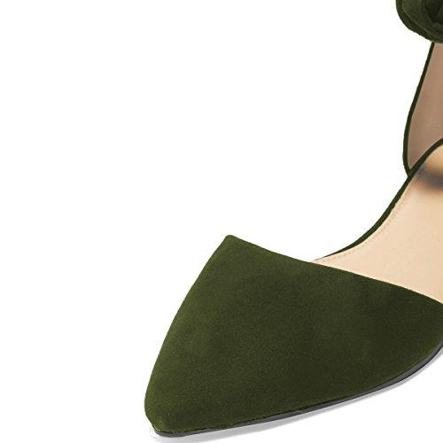 Fsj Kvinder Klassiske Spidse Tå Ankel Rem D'orsay Lejligheder Lynlås Komfortabel Travesko Størrelse 4-15 Os Oliven CEQGIlu2