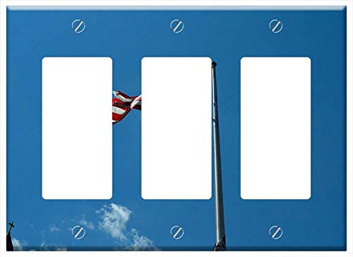 - Switch Plate Triple Rocker/GFCI - American Flag Flags Old Glory Weather Beaten Flag