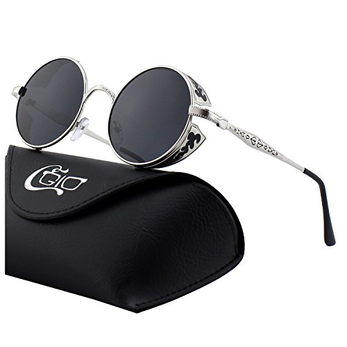 CGID E71 Retro Steampunk Style Inspired Round Metal Circle Polarized Sunglasses for - Steampunk Sunglasses Goggle