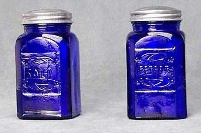 Cobalt Blue Glass Square Salt and Pepper Shakers SET