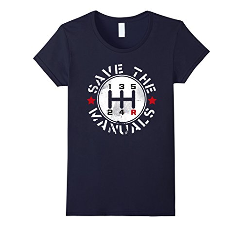 Womens Three Pedals Manual Transmission T Shirt Large Navy