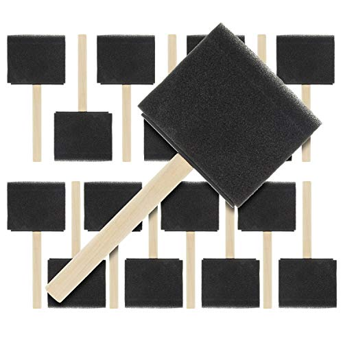US Art Supply 3 inch Foam Sponge Wood Handle Paint Brush Set (Value Pack of 15) - Lightweight, durable and great for Acrylics, Stains, Varnishes, Crafts, Art