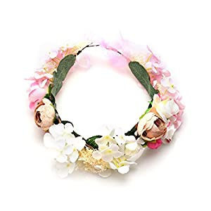 CODE FLORIST Crown Girl Headband Adjustable Flower Headpiece for Maternity Photo Shoot Baby Wedding Bridal Shower 10