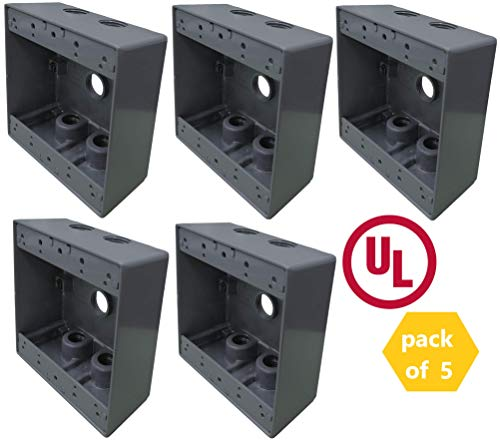 2-Gang Rectangular Weatherproof Box with 5 Holes, 3/4
