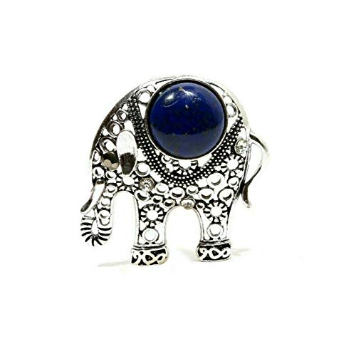 - Sunrise Jewels Women's Lapis Lazuli Gemstone Silver Plated Elephant Design Brooch Pin Jewelry