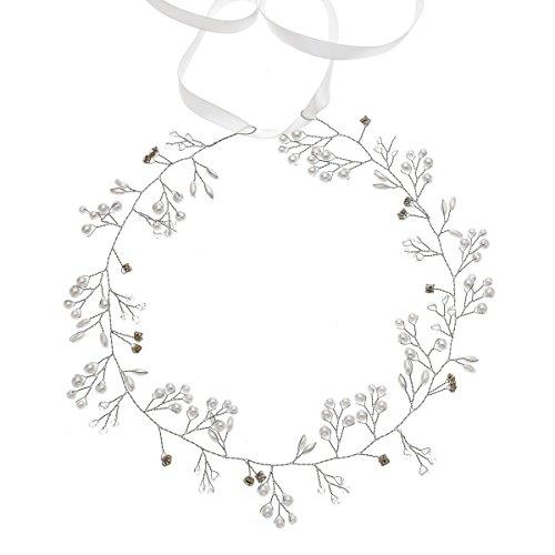 Accesyes Wedding Bridal Headband Pearl Crystal Olive Branch Halo Women Girls Photography (Silver-1)