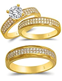 Trio Ring Set 14k Gold Two Tone - 3-Piece Wedding His Engagement Her Band Rings Sets - Round Cubic Zirconia CZ for Couple Mens and Women - Anillos de Matrimonio