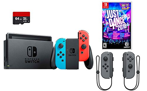 (Nintendo Switch 4 items Bundle:Nintendo Switch 32GB Console Neon Red and Blue Joy-con, 64GB Micro SD Memory Card and an Extra Pair of Nintendo Joy-Con (L/R) Wireless Controllers Gray,Just Dance 2018)