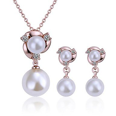 JEW JEWLY Fashion Tin Alloy Rose Gold Plated Ivory Double Pearl Jewelry Set